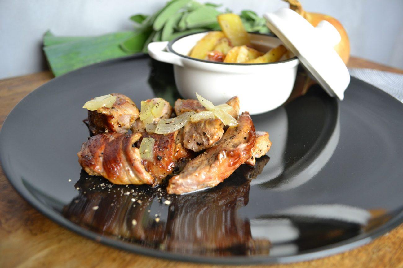 Geröstete Kartoffeln mit Schweinefilet in Cognacsauce