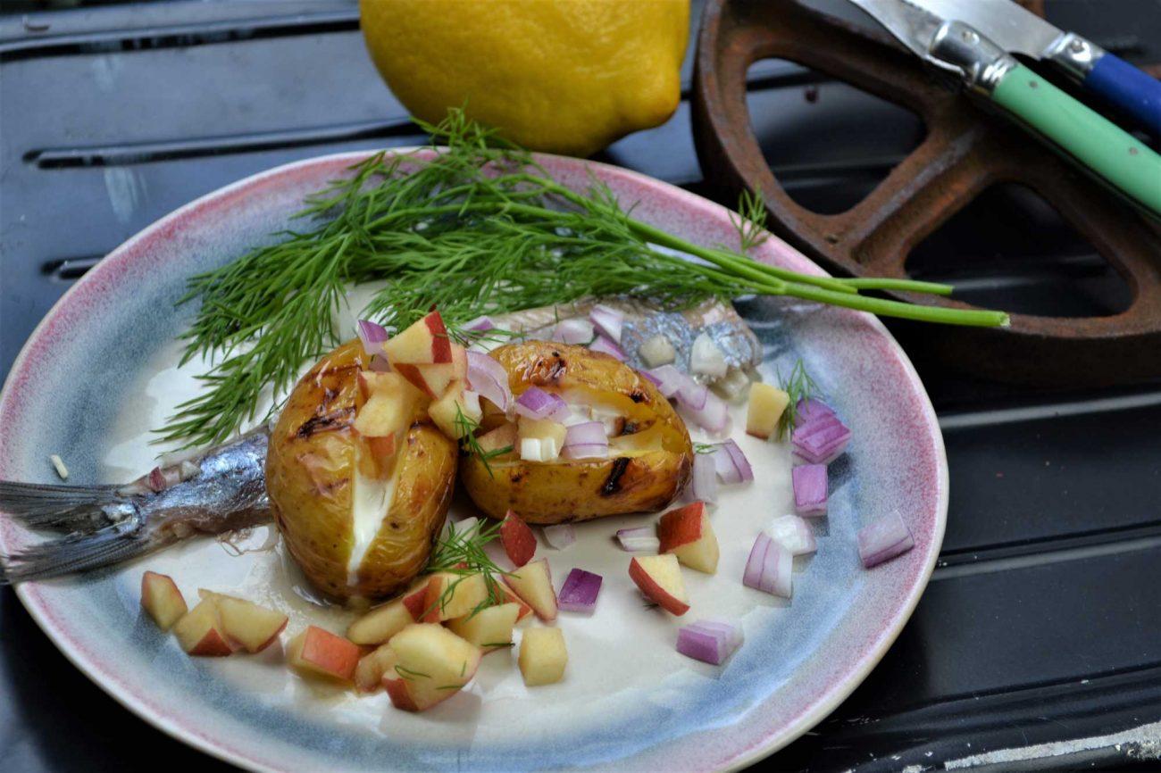 Gegrillte Kartoffeln auf Matjes