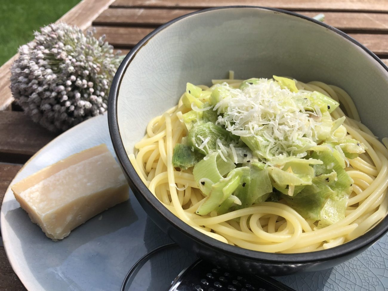 Spaghetti mit Lauch